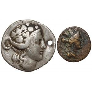 Grecja, Tetradrachma i Brąz - zestaw (2szt)