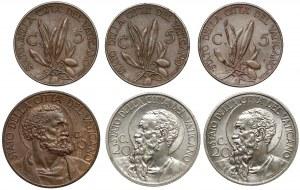 Watykan, Pius XI, od 5 do 20 centesimo 1930-34, zestaw (6szt)