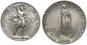 Watykan, Pius XI, 50 centesimo i 1 lira 1934 (2szt)