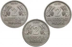 Niemcy, 2 marki 1951 J, F i G (3szt)