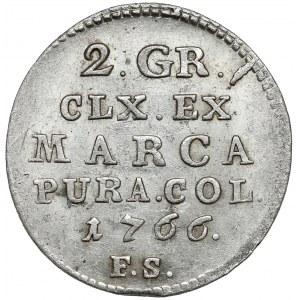 Poniatowski, Półzłotek 1766 F.S. - 7 listków - bez kropki po EX