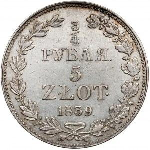 3/4 rubla = 5 złotych 1839 MW, Warszawa