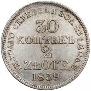 30 kopiejek = 2 złote 1839 MW, Warszawa - świeże lustro