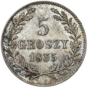 Wolne Miasto Kraków, 5 groszy 1835 - piękne