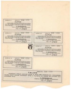 F. ROMASZKAN Fabryka Papieru w Wadowicach, Em.1, 5x 200 zł 1927