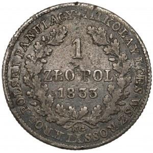 1 złoty polski 1833 KG - litery 'S ODWRÓCONE - b.rzadka