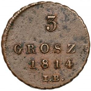 Księstwo Warszawskie, 3 grosze 1814 I.B.