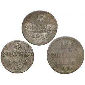 Księstwo Warszawskie, 5 i 10 groszy 1811-1813 - zestaw (3szt)