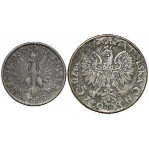 1 złoty 1925 i 5 złotych 1933 - falsyfikaty z epoki (2szt)