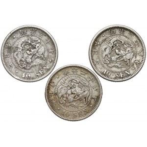 Japonia, Meiji, 10 sen, zestaw (3szt)