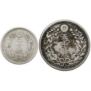 Japonia, Meiji, 20 i 50 sen - zestaw (2szt)