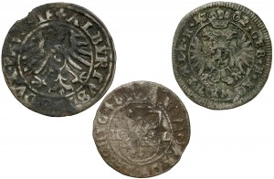 Śląsk, Prusy, Czechy, 1 krajcar i szeląg 1550-1702 (3szt)