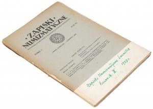 Zapiski numizmatyczne, Lwów 1928/Nr 1-2 (2szt)