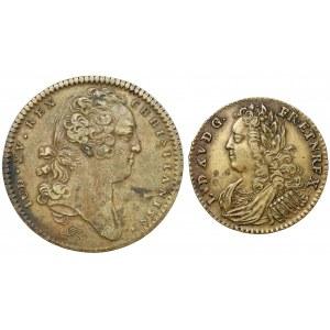 Francja, Ludwik XV, mosiężne żetony (2szt)