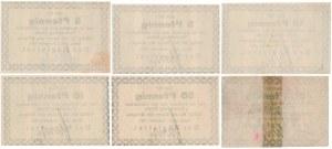 Xions (Książ), 2x 5, 2x 10 i 2x 50 pfg 1917 (6szt)