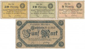 Wreschen (Września), 5 - 50 pfg i 5 mk 1917-1918 (4szt)
