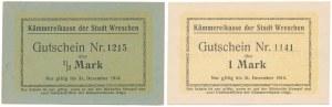 Wreschen (Września), 1/2 i 1 mk 1914 (2szt)