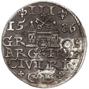 Stefan Batory, Trojak Ryga 1586 - duża głowa - zdobiony