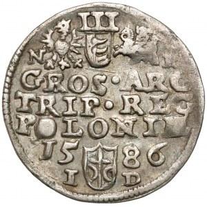 Stefan Batory, Trojak Olkusz 1586 - NH przy herbach