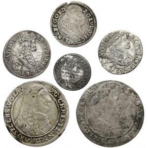 Śląsk, 1-15 krajcarów 1661-1696 (6szt)