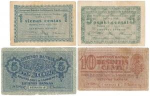 Lithuania, 1 - 10 Centu 1922 - September & November issue (4pcs)