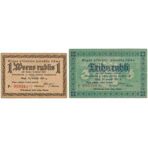 Latvia, Riga 1 & 3 Rubli 1919 (2pcs)