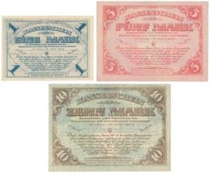 Northwest Russia, Mitava, Independent West Army, 1, 5 & 10 Mark 1919 (3pcs)
