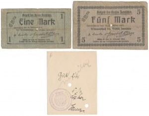 Jarotschin (Jarocin), 1 i 5 mk 1918 i Nowodruk 5 mk (1914) - zestaw (3szt)
