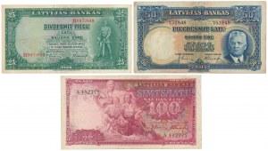 Łotwa, 25, 50 i 100 Latu 1934-39 (3szt)