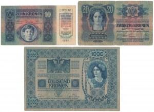 Czechosłowacja, 10, 20 i 1.000 Korun 1919 (3szt)