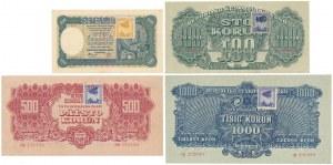 Czechosłowacja SPECIMEN 2x 100, 500 i 1.000 Korun 1945 (4szt)