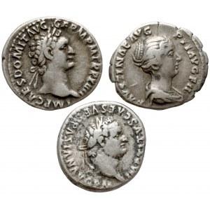 Cesarstwo Rzymskie, zestaw denarów - Tytus, Domicjan i Faustyna (3szt)