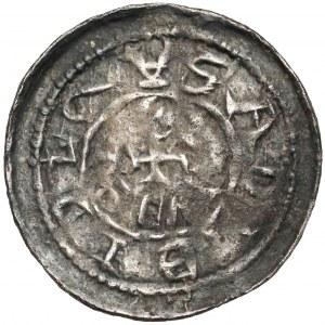 Bolesław III Krzywousty, Denar - Rycerz i św. Wojciech - PODWÓJNY napis