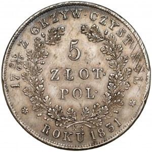Powstanie Listopadowe, 5 złotych 1831 KG - bardzo ładne