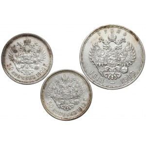 Rosja, Mikołaj II, 50 kopiejek i rubel 1900-1913 (3szt)