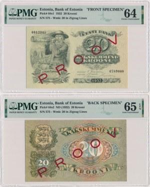 Estonia PROOV 20 Krooni 1932 FRONT & BACK SPECIMEN (2szt)