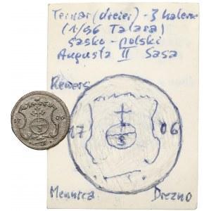 August II Mocny, 3 halerze (trzeciak) 1706 ILH, Drezno