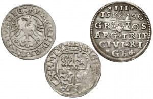 Zygmunt I i III, Półgrosz, półtorak i trojak 1511-1615 (3szt)
