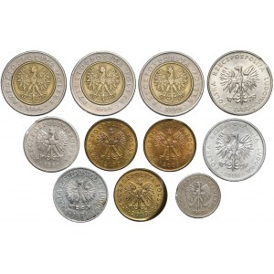 Destrukty 10 groszy - 5 złotych PRL / III RP zestaw (11szt)