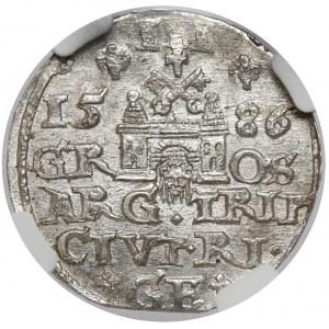 Stefan Batory, Trojak Ryga 1586 - LI - menniczy
