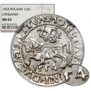 Zygmunt II August, Półgrosz Wilno 1554 - rzadki i PIĘKNY