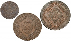 Austria, Franciszek I - od 1/2 krajcara do 30 krajcarów, 1807-1816 - zestaw (3szt)
