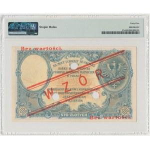 100 złotych 1919 - WZÓR - niski nadruk, z perforacją