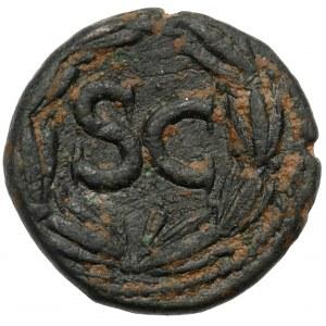 Domicjan (81-96 n.e.) AE Semis, Antiochia - Ciekawy portret!