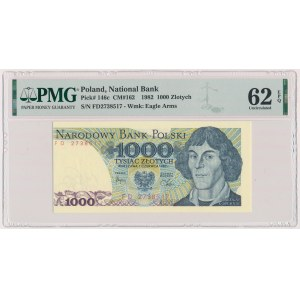 DESTRUKT 1.000 złotych 1982 - błąd cięcia - przesunięcie