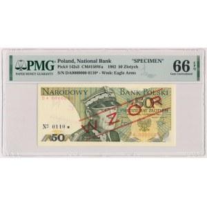 50 złotych 1982 - WZÓR - DA 0000000 - No.0110