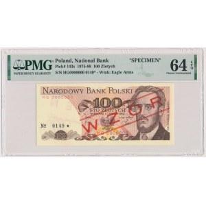 100 złotych 1982 - WZÓR - HG 0000000 - No.0149