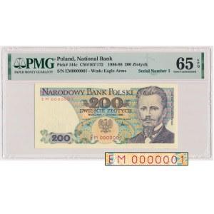200 złotych 1988 - EM 0000001