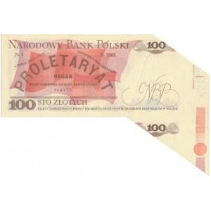 DESTRUKT 100 złotych 1986 - błąd cięcia motylek