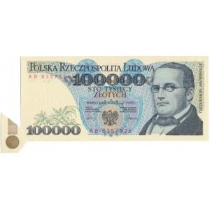 DESTRUKT 100.000 złotych 1990 - błąd cięcia motylek